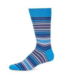 Bugatchi - Blue Multicolored Stripe Socks for Men - Lyst