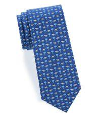 Ferragamo - Blue Palm-tree Silk Tie for Men - Lyst