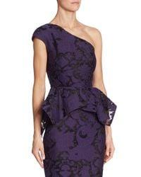 Roland Mouret - Purple Rodmell Fil Coupe Floral Brocade One-shoulder Top - Lyst