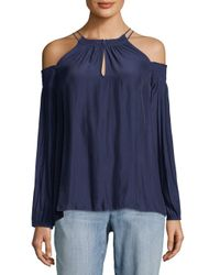 Ramy Brook - Blue Heidi Cold-shoulder Top - Lyst