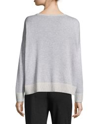 Eileen Fisher - Gray Cotton Box Top - Lyst