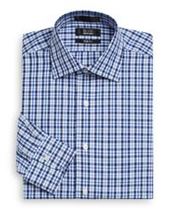 Saks Fifth Avenue Black - Blue Slim-fit Checked Cotton Dress Shirt for Men - Lyst