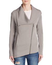 Helmut Lang | Gray Villous Asymmetrical Stretch Knit Jacket | Lyst