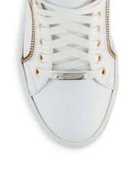 Alessandro Dell'acqua - White Oxford Zip-trimmed Mid-top Sneakers for Men - Lyst