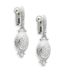 Judith Ripka - Metallic Natalie White Sapphire & Sterling Silver Pavé Oval Drop Earrings - Lyst