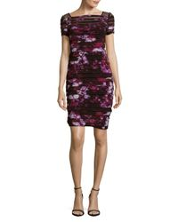 Adrianna Papell - Multicolor Illusion Yoke Print Shutter Pleat Sheath Dress (plus Size) - Lyst