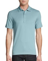 Saks Fifth Avenue - Blue Cotton Pique Polo Shirt for Men - Lyst