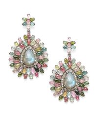 Bavna - Multicolor Diamond, Tourmaline, Labradorite & Sterling Silver Medallion Earrings - Lyst