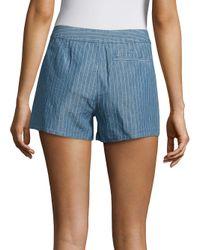 Joie | Blue Merci Striped Linen & Cotton Shorts | Lyst