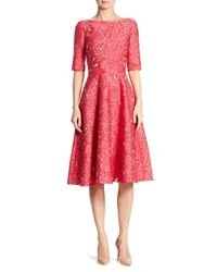 Lela Rose - Red Elbow Sleeve Dress - Lyst