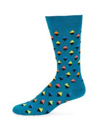Happy Socks - Blue Abstract Triangle Crew Socks for Men - Lyst
