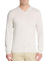 Saks Fifth Avenue - White Cashmere V-neck Sweater for Men - Lyst