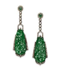 Bavna - Green Jade, Diamond & Sterling Silver Chandelier Earrings - Lyst