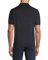 Brioni - Black Cotton Zip Placket Polo for Men - Lyst