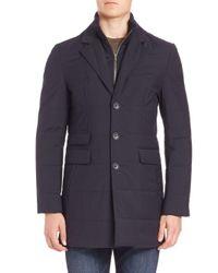 Saks Fifth Avenue - Blue Zipper Bib Quilted Wool Coat for Men - Lyst
