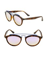 Ray-Ban - Brown Round Aviator Sunglasses - Lyst