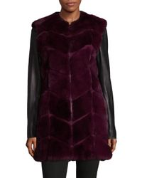 Badgley Mischka - Purple Anastasia Rabbit Fur Coat - Lyst