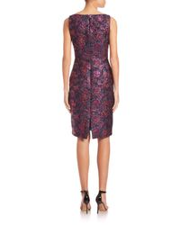 Talbot Runhof - Blue Sleeveless Brocade Sheath Dress - Lyst