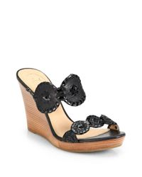 Jack Rogers Black Luccia Leather & Patent Leather Wedge Sandals