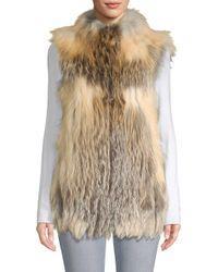 Belle Fare - Natural Vertical Full Skin Cross Fox Fur Vest - Lyst