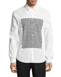 Alexander McQueen - White Geo Cotton Casual Button-down Shirt for Men - Lyst