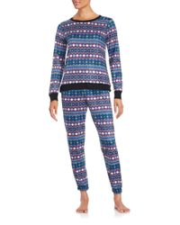 Kensie | Blue Stitch Pattern Pullover & Pants Set | Lyst