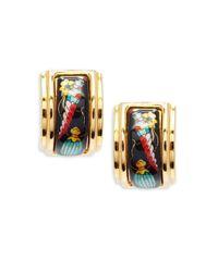 Hermès - Red Vintage Enamel Clip-on Earrings - Lyst