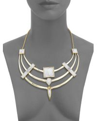 Alexis Bittar - Metallic Miss Havisham Deconstructed Deco Howlite & Crystal Armored Bib Necklace - Lyst