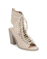 Dolce Vita - Natural Lira Sand Perforated Leather Ankle Boots - Lyst