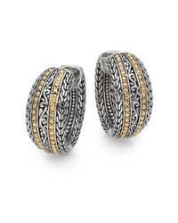 Effy | Metallic 925 Sterling Silver & 18k Yellow Gold Filigree Hoop Earrings/1"