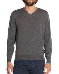 Brunello Cucinelli - Gray Wool/cashmere V-neck Sweater for Men - Lyst