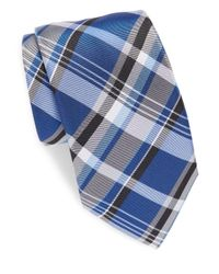 Saks Fifth Avenue - Blue Plaid Silk Tie for Men - Lyst
