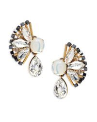 Tataborello - White Crystal Studded Earrings - Lyst