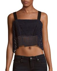 3.1 Phillip Lim - Blue Bandeau-insert Sheer Cotton Eyelet Cropped Top - Lyst