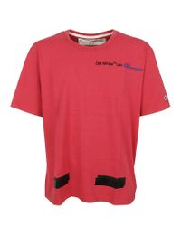 Off-White c/o Virgil Abloh - Champion Tee Red Black for Men - Lyst
