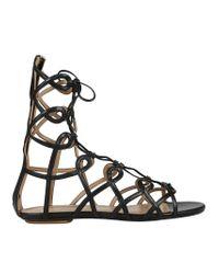 Aquazzura - Black Mumbai Gladietor Sandal Flat - Lyst