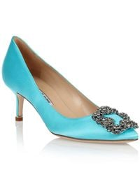 Manolo Blahnik | Hangisi 50 Satin Pump Tiffany Blue Us | Lyst