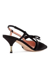 Rochas Slingback Black Satin Pumps