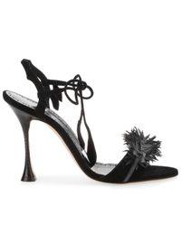 Manolo Blahnik - Zoulifior 105 Black Strap Sandal Us - Lyst