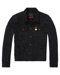 Scotch & Soda - Black Embroidererd Denim Jacket for Men - Lyst