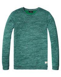 Scotch & Soda - Green Structured Melange Sweatshirt for Men - Lyst