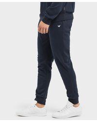 Emporio Armani - Blue Small Icon Cuffed Fleece Pants for Men - Lyst