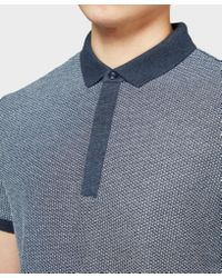 BOSS - Blue Persys Short Sleeve Textured Polo Shirt for Men - Lyst
