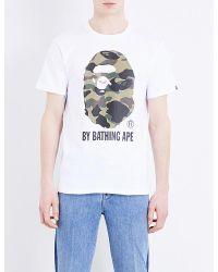 A Bathing Ape - White Ape Cotton T-shirt for Men - Lyst