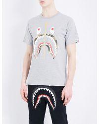A Bathing Ape   Gray Shark Cotton T-shirt for Men   Lyst