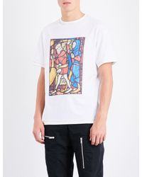J.W. Anderson - White Stain Glass-print Cotton-jersey T-shirt for Men - Lyst