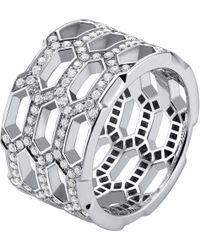 BVLGARI - Serpenti Seduttori 18kt White-gold And Diamond Ring - Lyst