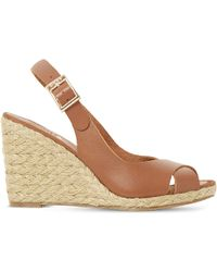 Dune | Natural Kia Leather Wedge Sandals | Lyst