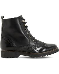 Dune | Black Parka Brogue Leather Ankle Boots | Lyst