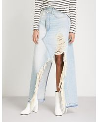 R13 - Multicolor Harrow Destroyed Mid-rise Denim Skirt - Lyst